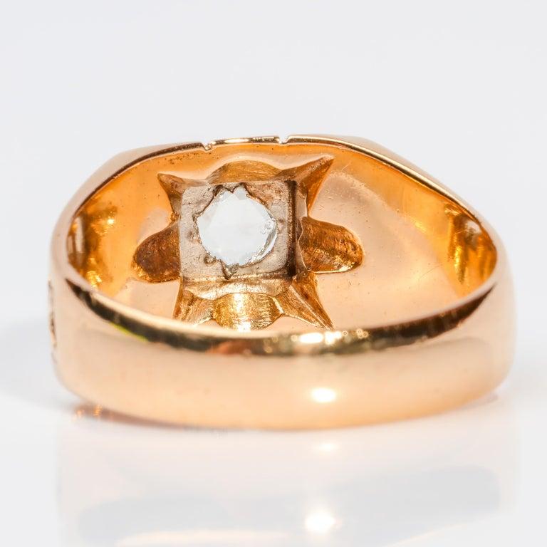 Men's Diamond Ring Tudor Style, 1940s For Sale 3