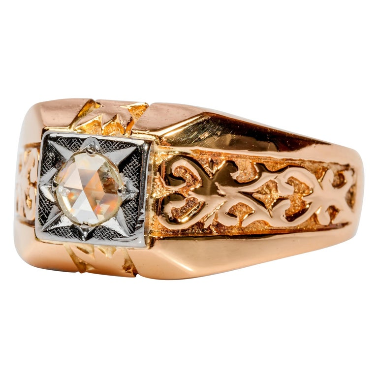 Men's Diamond Ring Tudor Style, 1940s For Sale