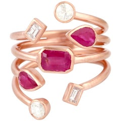 Rose cut Diamond Ruby 18 Karat Gold Open Ring