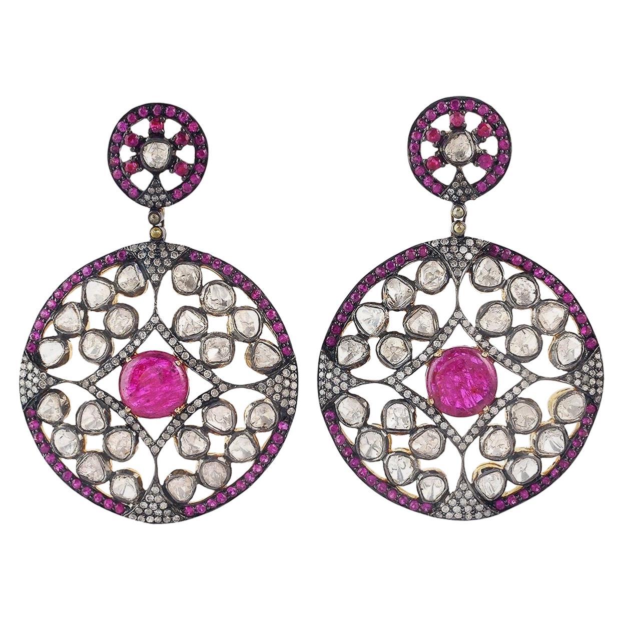 Rose Cut Diamond Ruby Antique Style Earrings