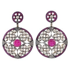 Rose Cut Diamond Ruby Antique Style Earrings