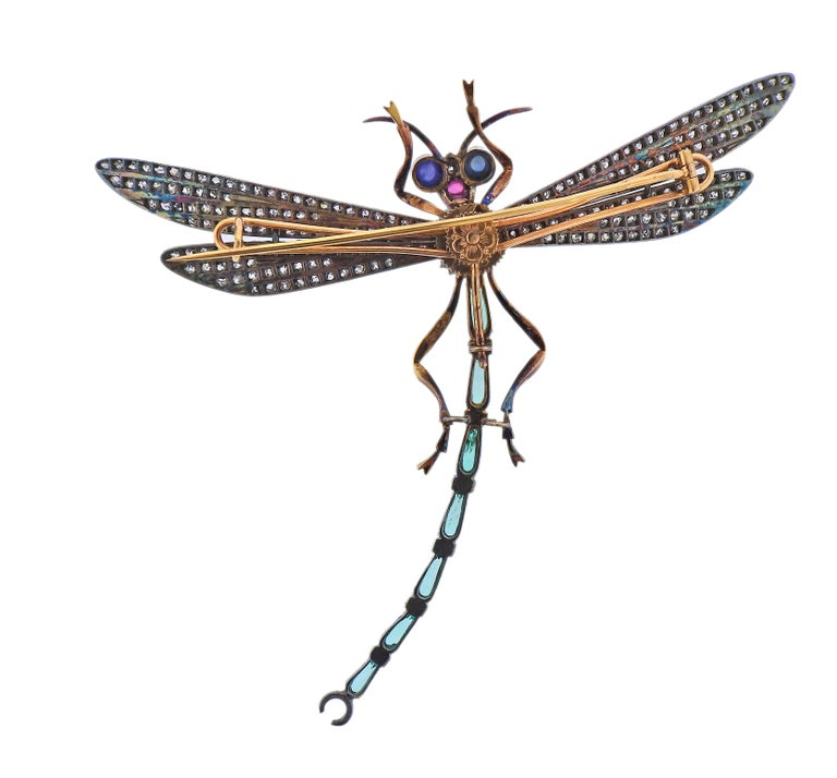 Rose Cut Diamond Ruby Emerald Sapphire Silver Gold Dragonfly Brooch For Sale 1