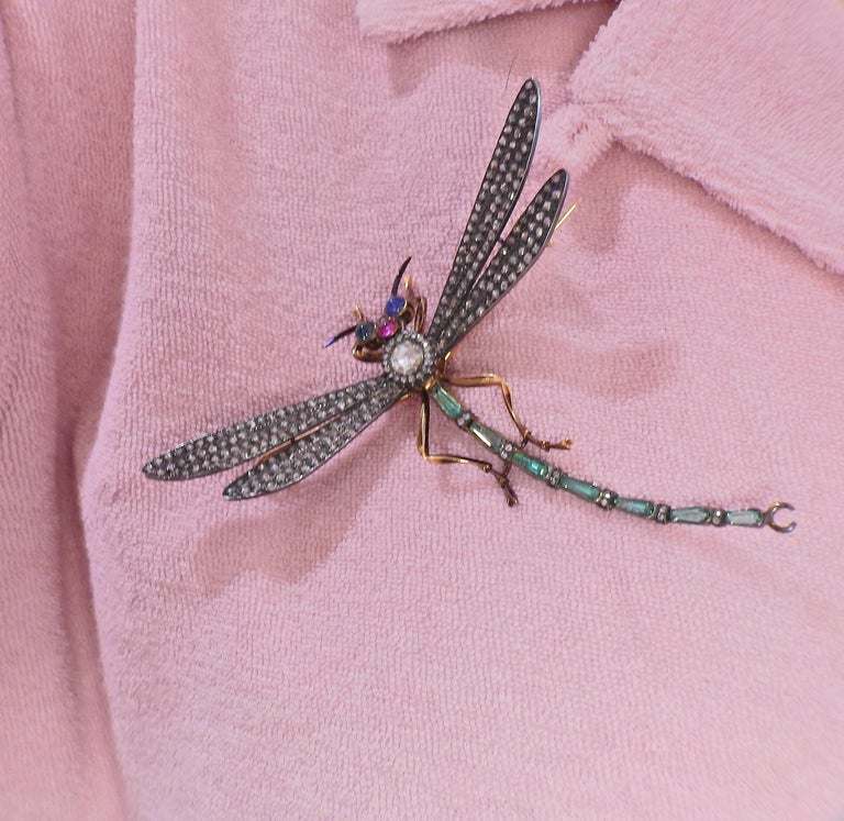 Rose Cut Diamond Ruby Emerald Sapphire Silver Gold Dragonfly Brooch For Sale 2