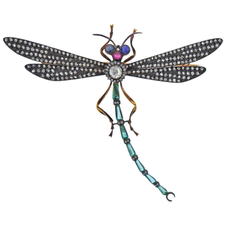 Rose Cut Diamond Ruby Emerald Sapphire Silver Gold Dragonfly Brooch For Sale