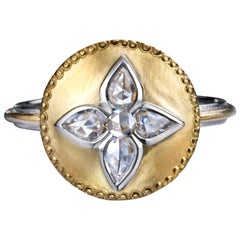 Rose Cut Diamond Shield Ring in Platinum and 24 Karat Gold