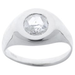 Rose Cut Diamond Signet 9 Karat White Gold Ring Handcrafted in Italy
