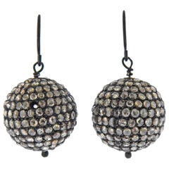 Rose Cut Diamond Silver Ball Drop Earrings
