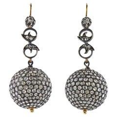 Rose Cut Diamond Silver Gold Ball Drop Earrings