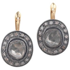 Rose Cut Diamond Silver Gold Earrings