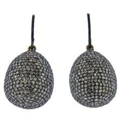 Rose Cut Diamond Silver Gold Teardrop Earrings