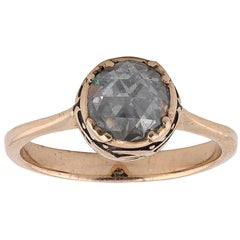 Rose Cut Diamond Single-Stone Ring