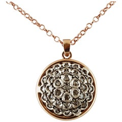 Rose Cut Diamonds, 14 Karat Rose Gold and Silver Retrò Pendant Necklace