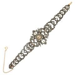 Rose Cut Diamonds 14 Karat Yellow Gold Cuff Bracelet