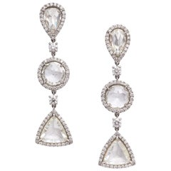 Rose Cut Diamonds and White Gold Ear Pendant Earrings