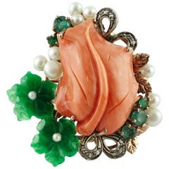 Diamonds Coral Emeralds Green Agate Flowers Little White Pearls Fashion Ring