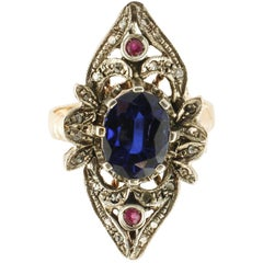 Rose Cut Diamonds Little Rubies Blue Sapphire Rose Gold and Silver Fashion Ring