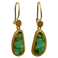 Rose Cut Emeralds and 22 Karat Gold Bohemian Drop Earrings
