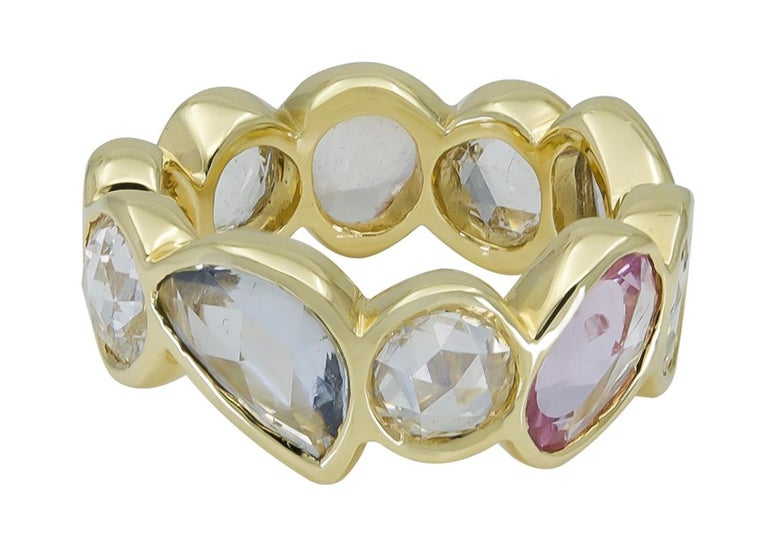 Women's Rose Cut Multi-Color Sapphire and Diamond Eternity Ring For Sale