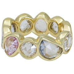 Rose Cut Multi-Color Sapphire and Diamond Eternity Ring