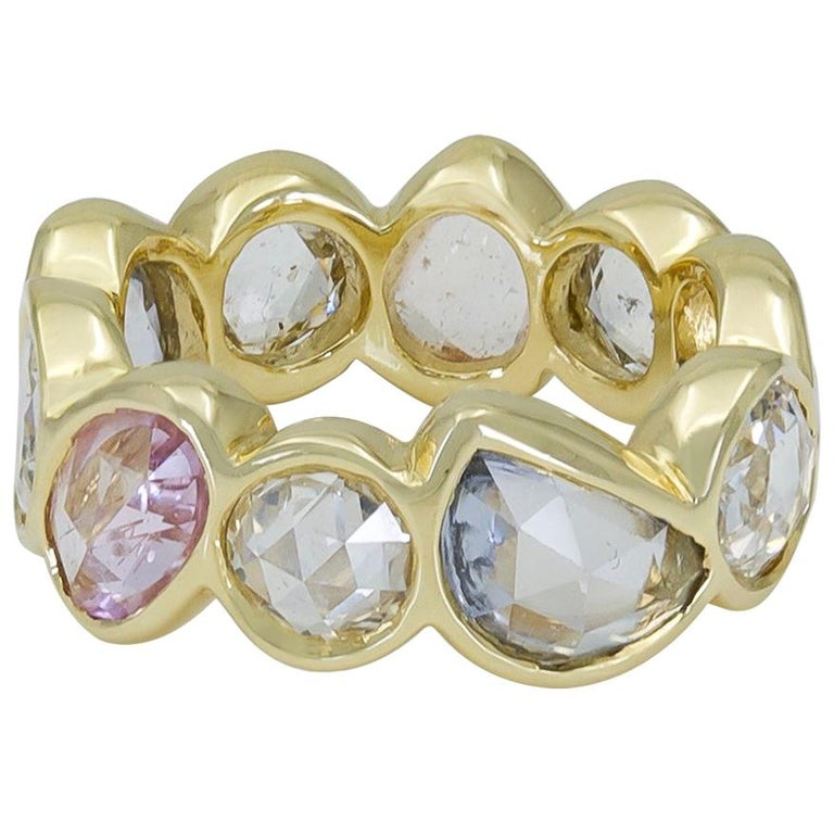Rose Cut Multi-Color Sapphire and Diamond Eternity Ring For Sale