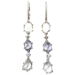 Rose-Cut Natural Color Sapphire and Diamond Drop Earrings