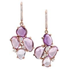 Rose-Cut Natural Colour Sapphire Rose Gold Earrings