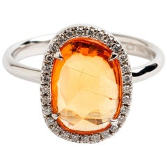 Rose Cut Orange Sapphire Halo Ring, 18 Karat Gold, Hallmarked London 2019