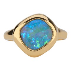 Rose Cut Organic Shape Ethiopian Opal Bezel Set Ring in 22 Karat Gold