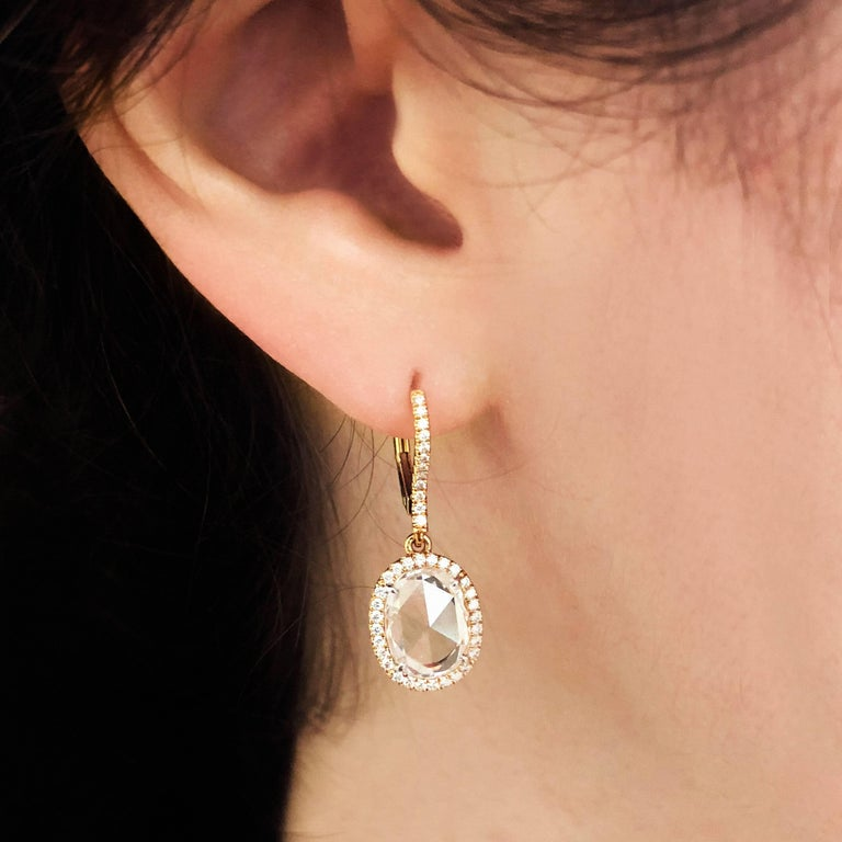 2.57 tw Rose Cut diamonds (2 stones) F VS. Very sparkly and a perfectly matched pair Round diamond melee 0.32 tw (80 stones) 18k rose gold halo earrings / dangle earrings / drop earrings / leverback earrings