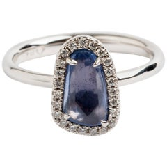 Rose Cut Pale Blue Sapphire Halo Dress Ring, Hallmarked London, 2019