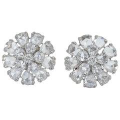 Rose Cut Pear Shape Diamond Flower Earrings