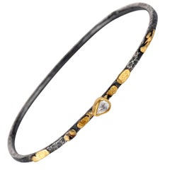 Rose Cut Pear White Diamond Mixed Metal Sterling Silver and Gold Bangle Bracelet