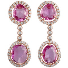 Rose Cut Pink Sapphire and Diamond Earring Studded in 18 Karat Rose Gold