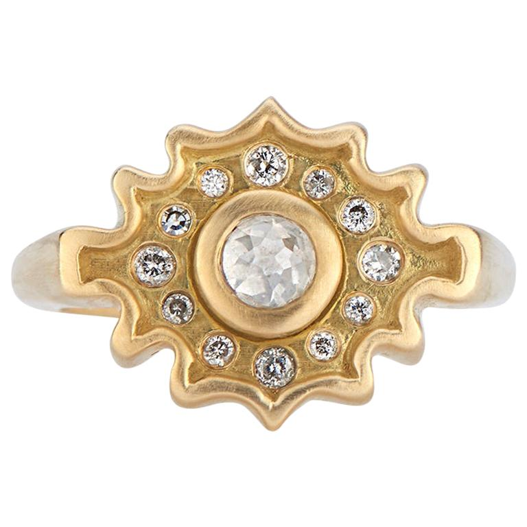 Rose Cut Salt and Pepper Diamond Ring in Yellow Gold For Sale