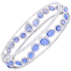 Rose Cut Sapphire and Diamond Bangle Bracelet