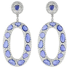 Rose Cut Sapphire and Diamond Earrings