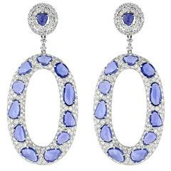 Rose Cut Sapphire and Diamond Earrings
