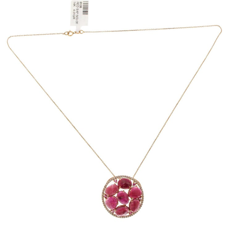 a68d990938429f Rose Cut Sliced 12.38 Ct Red Sapphire 0.40 Ct Diamond 14k Rose Gold Necklace  For Sale