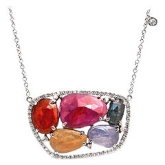 Rose Cut Sliced 12.48 Ct Multi Sapphire 0.47 Ct Diamonds 14k White Gold Necklace