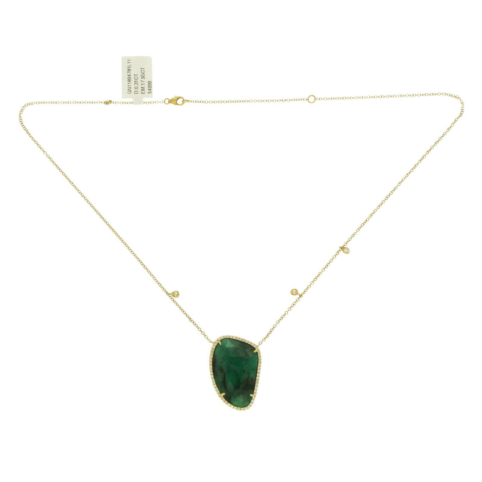 Rose Cut Sliced 17.95 Carat Emerald 0.31 Carat Diamonds 14 Karat Gold Necklace