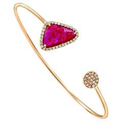 Rose Cut Sliced 2.10 Ct Natural Ruby 0.30 Ct Diamonds 14k Rose Gold Bracelet