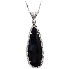 Rose Cut Sliced 26 Ct Blue Sapphire 0.58 Ct Diamonds 14k White Gold Necklace