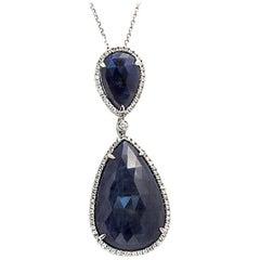 Rose Cut Sliced 27 Ct Blue Sapphire 0.43 Ct Diamonds 14k White Gold Necklace