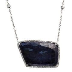 Rose Cut Sliced 28 Ct Blue Sapphire 0.43 Ct Diamonds 14k White Gold Necklace