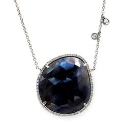 Rose Cut Sliced 29 Ct Blue Sapphire 0.46 Ct Diamonds 14k White Gold Necklace