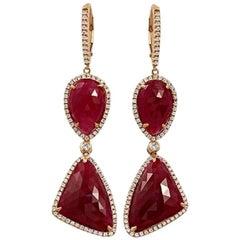 Rose Cut Sliced 29 Ct Natural Ruby 0.96 Ct Diamonds 14k Rose Gold Drop Earrings