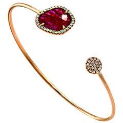 Rose Cut Sliced 2.98 Ct Natrual Ruby 0.30 Ct Diamonds 14k Rose Gold Bracelet