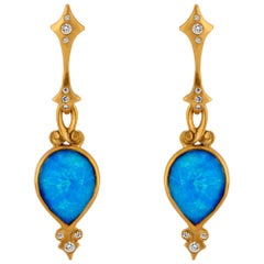 Rose Cut Tear Drop Ethiopian Opal and Diamond Earrings in Gold