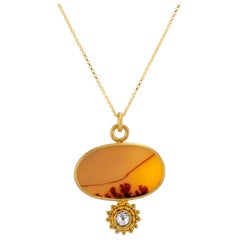 Rose Cut White Diamond Dendritic Agate Granulation Yellow Gold Pendant Necklace