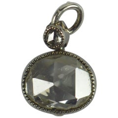 Rose Cut White Diamond Platinum Charm Pendant